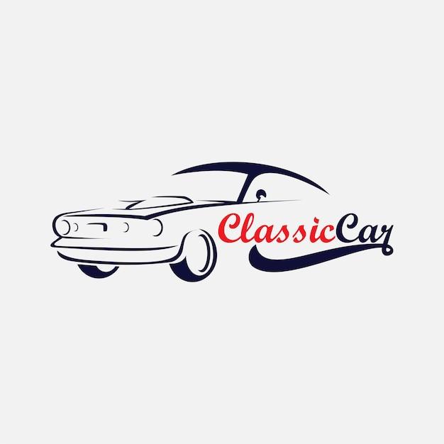 Sagoma dell'icona del logo di auto d'epoca, logo automobilistico Vettore Premium