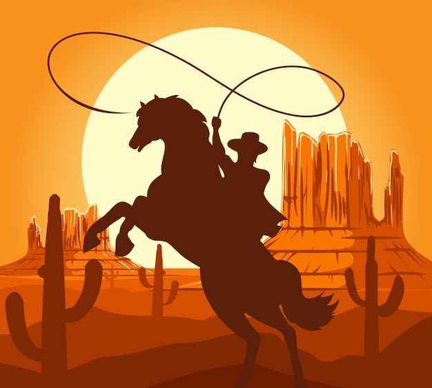 Sagoma di cowboy occidentali nel deserto Vettore Premium