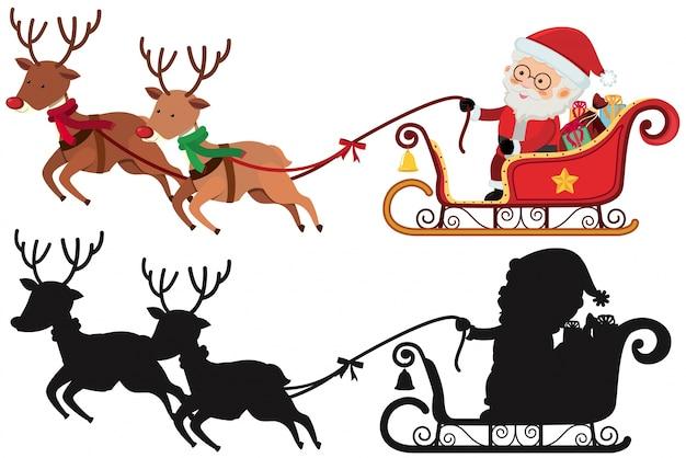 Sagoma Di Natale Con Babbo Natale E Renne Scaricare Vettori Premium
