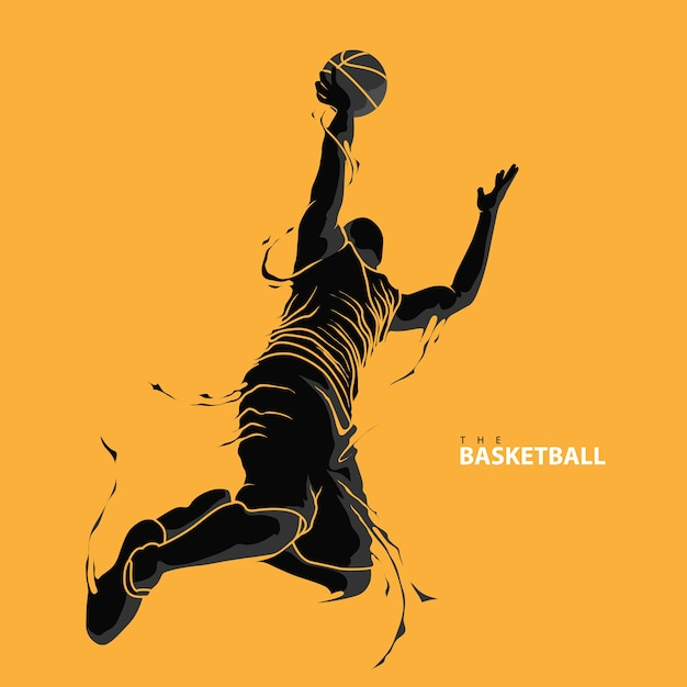 Sagoma di splash giocatore di basket Vettore Premium