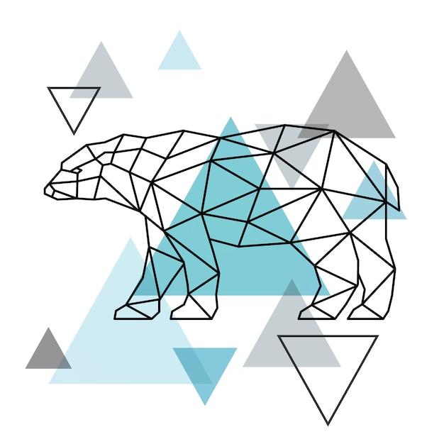 Sagoma geometrica di un orso polare. stile scandinavo. Vettore Premium