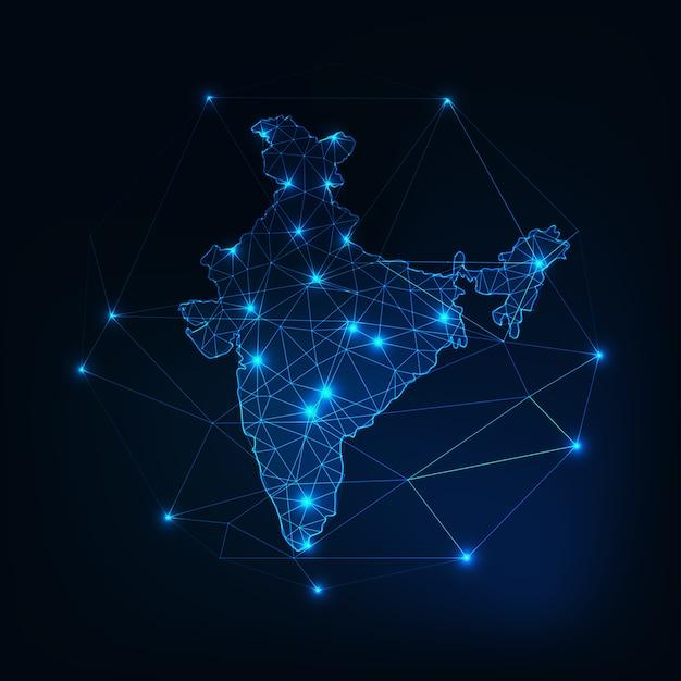 Sagoma incandescente di mappa low poly india Vettore Premium