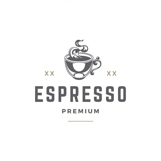 Sagoma tazza modello emblema negozio di caffè o tè Vettore Premium