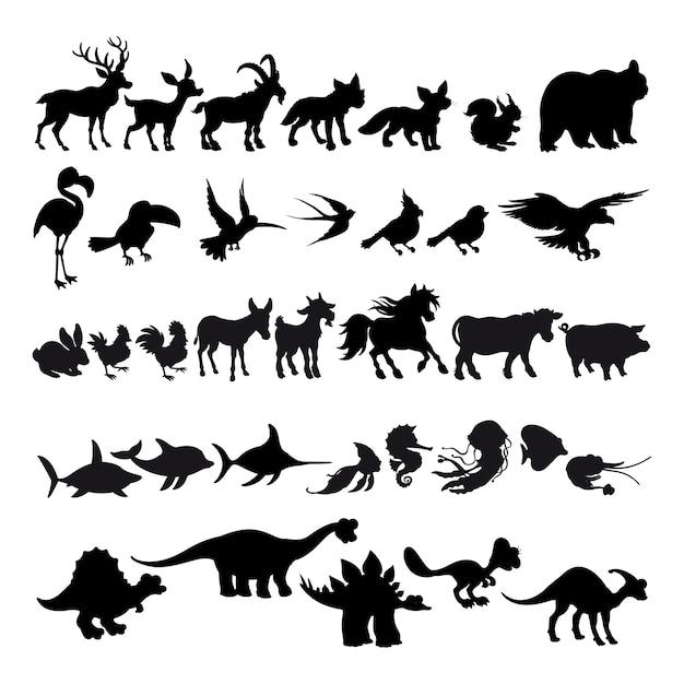 Sagome di animali dei cartoni animati Vettore Premium