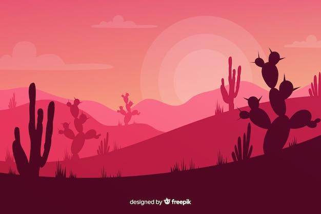 Sagome di cactus al tramonto Vettore gratuito