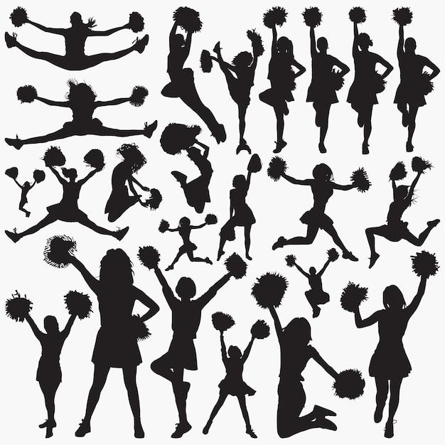 Sagome di cheerleader Vettore Premium