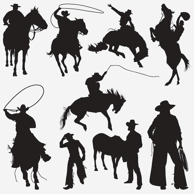 Sagome di cowboy Vettore Premium