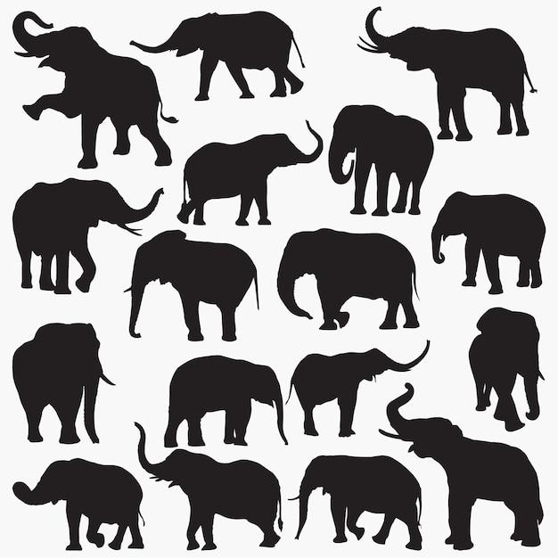 Sagome di elefanti Vettore Premium