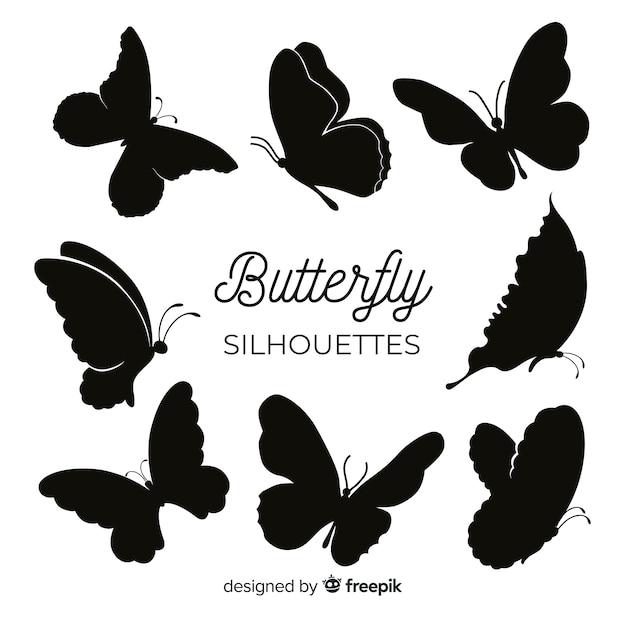 Sagome di farfalle volanti Vettore gratuito