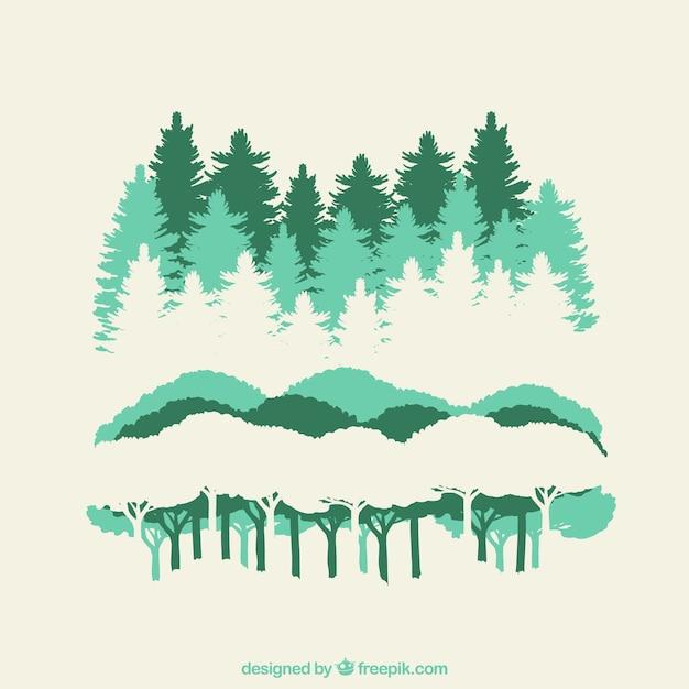 Sagome di foresta Vettore gratuito