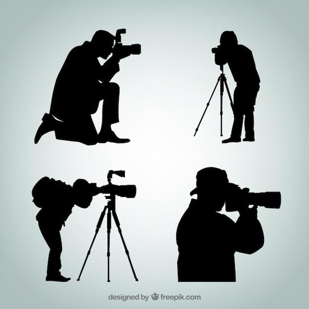 Sagome di fotografo Vettore gratuito