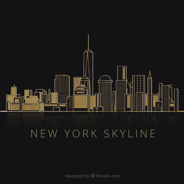 Sagome di new york city Vettore gratuito
