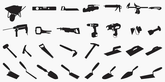 Sagome di strumenti di muratura Vettore Premium