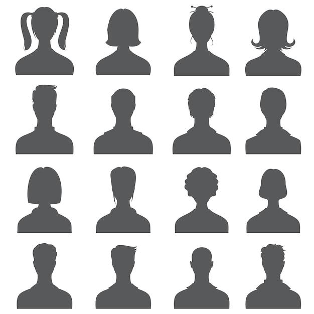 Sagome di teste di persone anonime, profili utente business monocromatici Vettore Premium