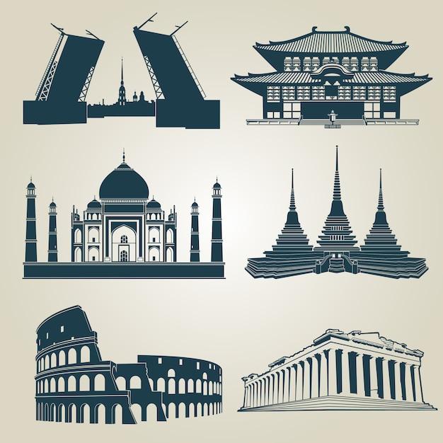Sagome vettoriali di attrazioni turistiche del mondo. famosi punti di riferimento e simboli di destinazione Vettore Premium