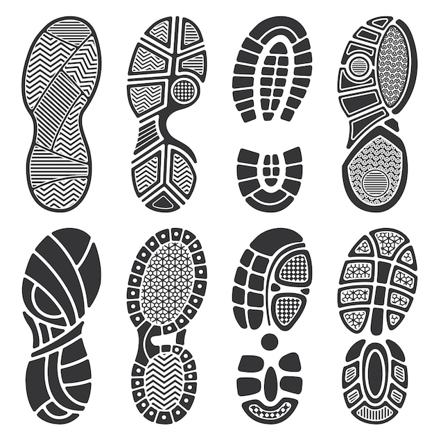 Sagome vettoriali isolato impronta. scarpe sporche e impronte di scarpe da ginnastica Vettore Premium