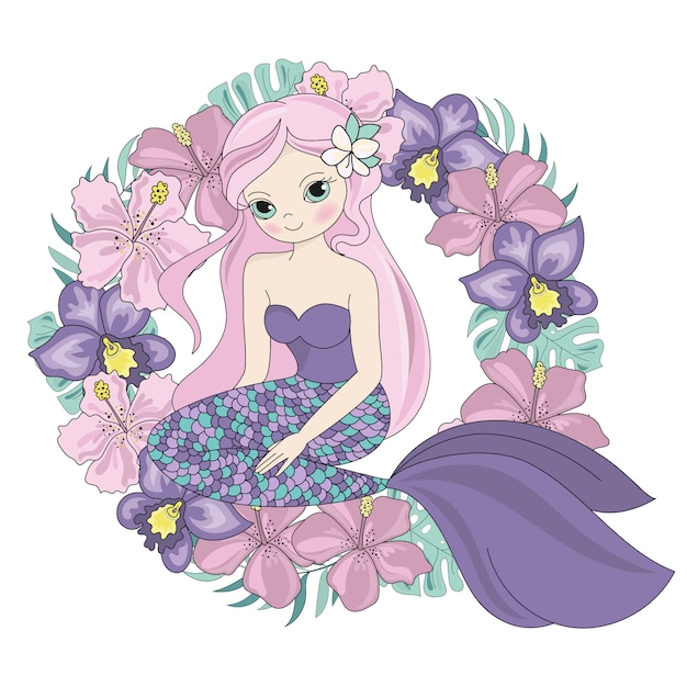 Sagra di sirena floral sea princess Vettore Premium