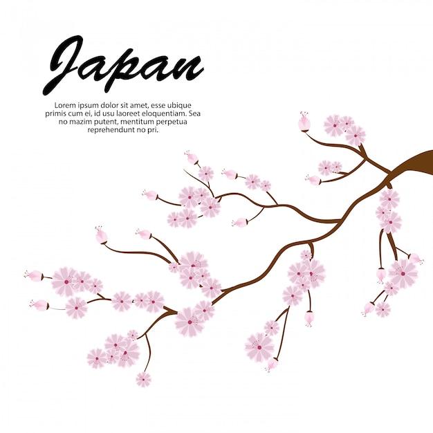 Sakura rami icona albero giappone Vettore gratuito
