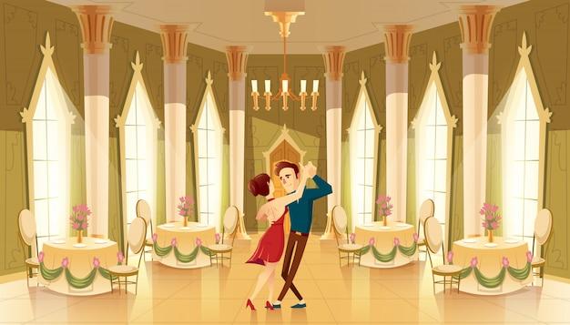Sala con ballerini, interno della sala da ballo. grande sala con lampadario, colonne per ricevimento reale Vettore gratuito