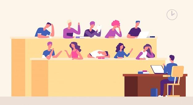 Sala conferenze. docente di studenti in aula per l'apprendimento dei giovani che studiano nell'auditorium. seminario di coaching aziendale Vettore Premium