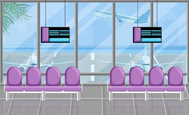 Sala d'attesa dell'aeroporto alle porte Vettore Premium