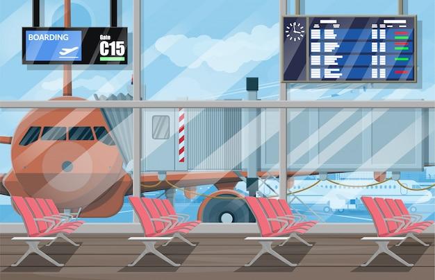 Sala d'attesa nel terminal passanger dell'aeroporto Vettore Premium