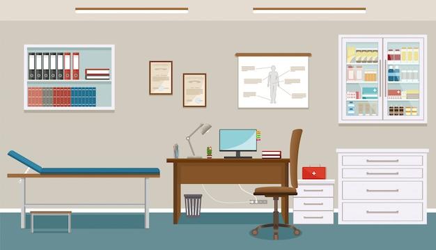 Sala di consultazione del medico nella clinica di medicina. interior design vuoto dell'ufficio medico. ospedale che lavora nel concetto di assistenza sanitaria. Vettore Premium