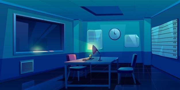 Sala di interrogatorio nella stazione di polizia, interna Vettore gratuito