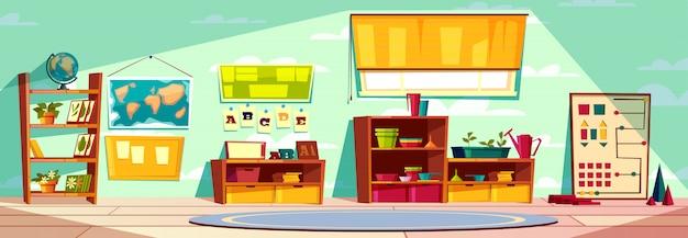 Sala giochi dell'asilo montessori, classe di scuola elementare, fumetto interno della stanza del bambino Vettore gratuito