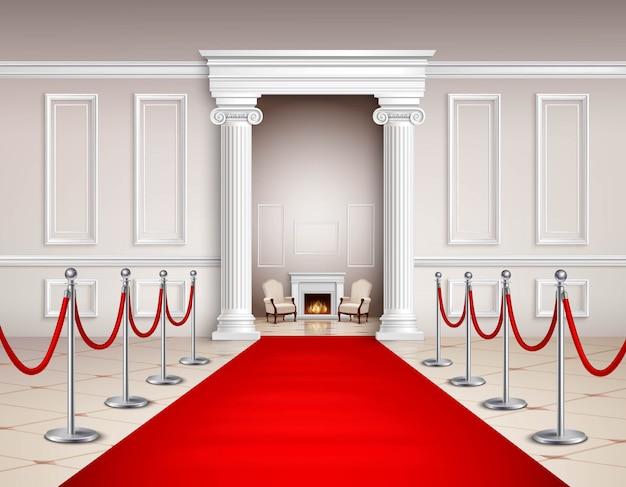 Sala in stile vittoriano con barriere argentate con moquette rossa e caminetto Vettore gratuito