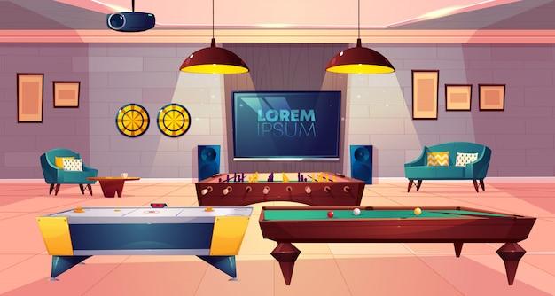 Sala ricreativa per il tempo libero nel seminterrato di casa con poltrona morbida e divano, freccette e tv a parete Vettore gratuito