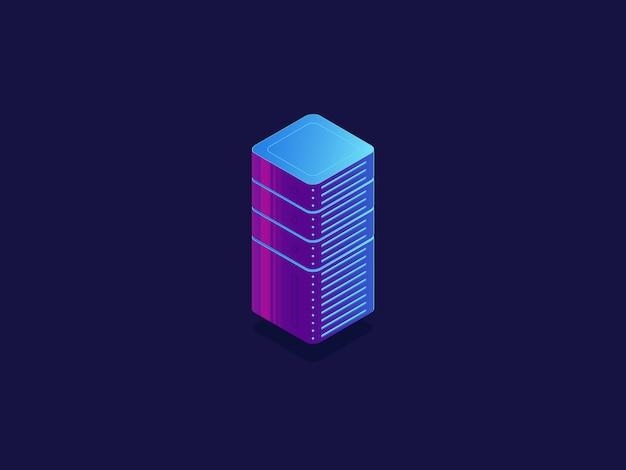 Sala server, archiviazione dati cloud, database datacenter, blocchi tecnologici Vettore gratuito