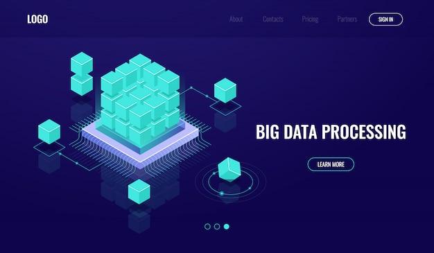 Sala server, big data, cloud computing, intelligenza artificiale ai, elaborazione dati, database Vettore gratuito
