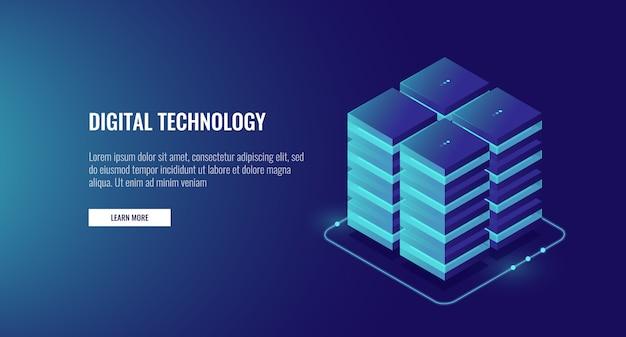 Sala server, cloud cloud storage, grande concetto di elaborazione dati, networking e internet Vettore gratuito