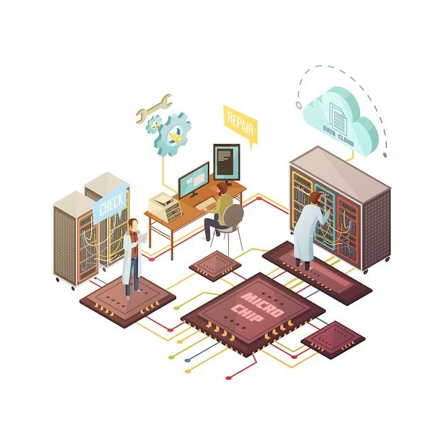 Sala server con personale e attrezzature di riparazione e servizi di cloud storage Vettore gratuito
