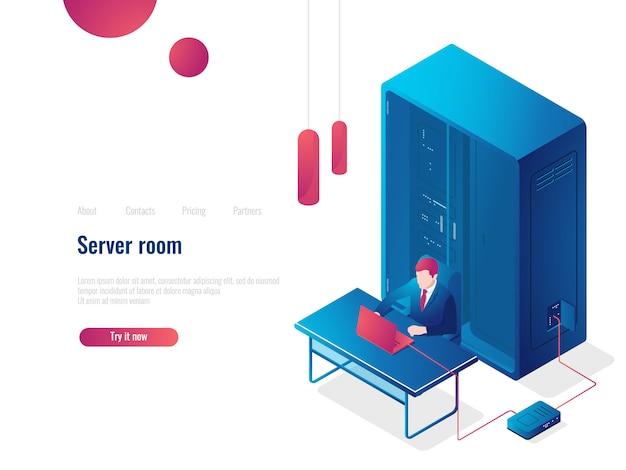 Sala server, icona isometrica di rete, pagina di destinazione dell'amministratore di sistema, archiviazione cloud del database Vettore gratuito