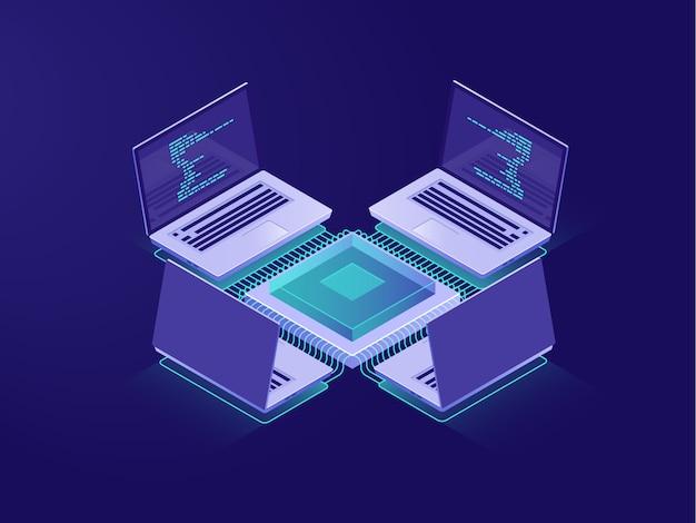 Sala server, intelligenza artificiale, elaborazione di big data, operazioni bancarie online Vettore gratuito