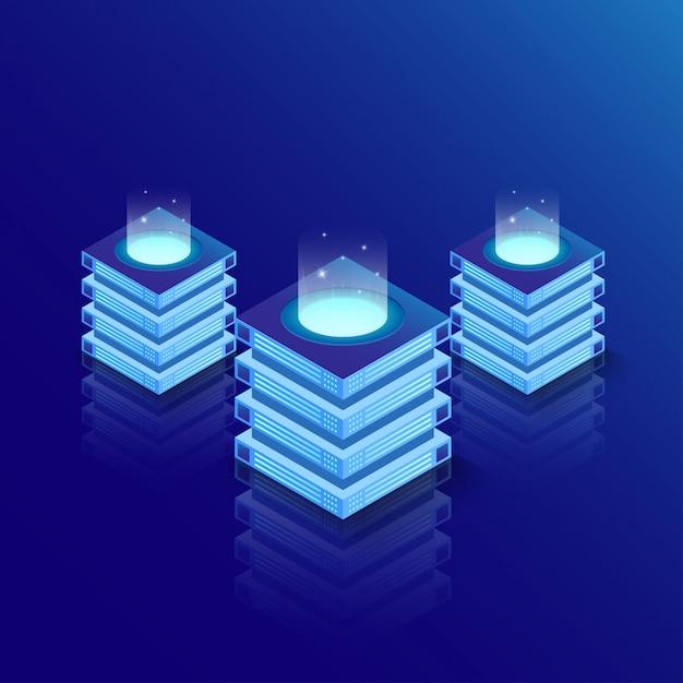 Sala server isometrica e grande concetto di elaborazione dati, datacenter e database. Vettore Premium