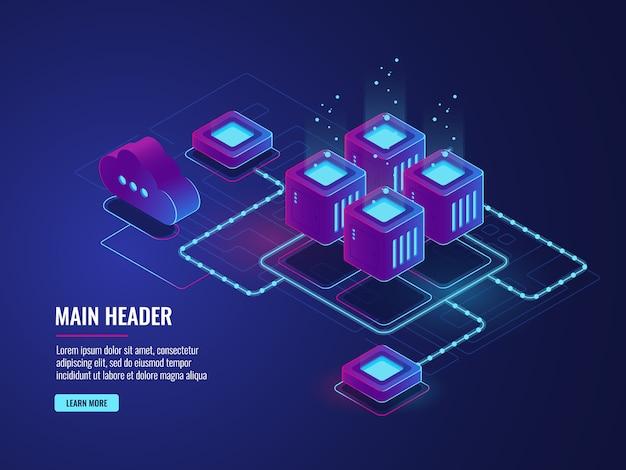 Sala server, tecnologia di archiviazione cloud, data center di trasmissione e scambio Vettore gratuito