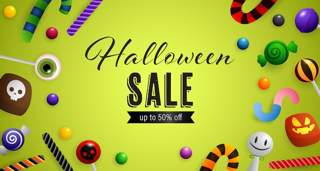 Saldi di halloween, fino al cinquanta per cento di sconto scritte con caramelle Vettore gratuito