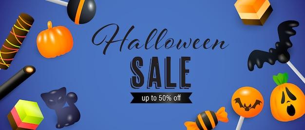 Saldi di halloween, fino al cinquanta per cento di sconto scritte con lecca-lecca Vettore gratuito