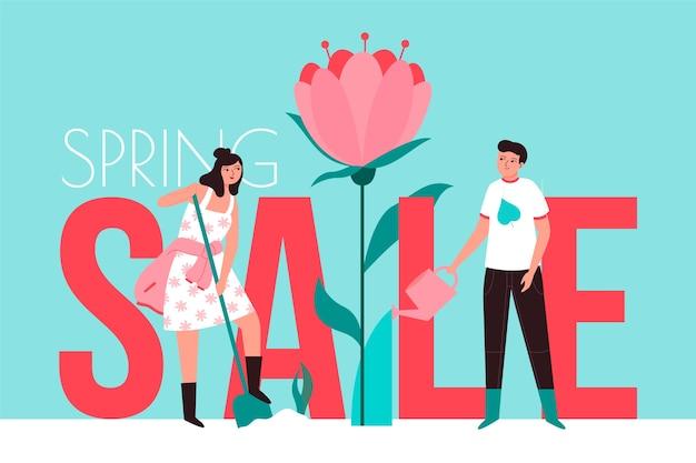 Saldi di primavera in design piatto Vettore gratuito