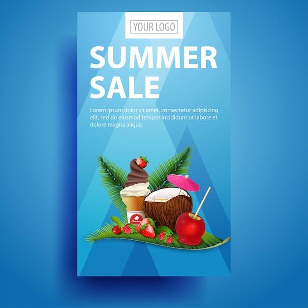 Saldi estivi, banner verticale moderno ed elegante per il tuo business Vettore Premium