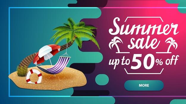 Saldi estivi, banner web di sconto Vettore Premium