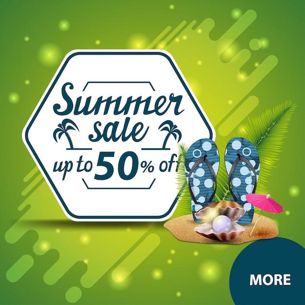 Saldi estivi, banner web quadrati scontati per il tuo sito web Vettore Premium