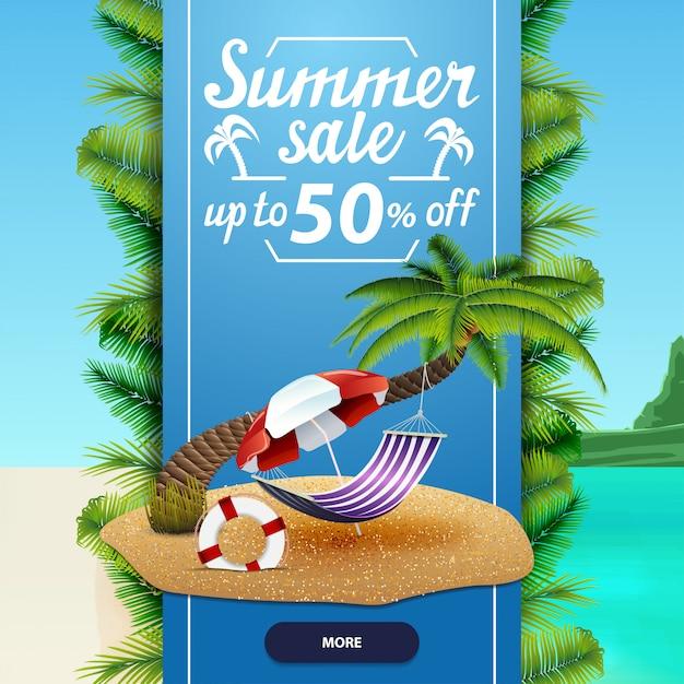 Saldi estivi, modello di banner web sconto quadrato per il tuo business Vettore Premium