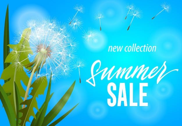 Saldi estivi, nuova collezione banner con soffiando tarassaco su sfondo blu cielo. Vettore gratuito