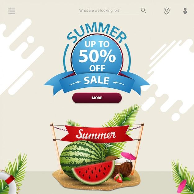 Saldi estivi, un modello per il tuo sito web in uno stile minimalista Vettore Premium
