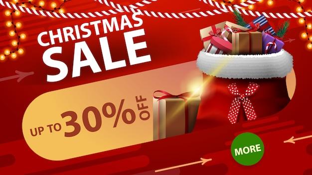 Saldi natalizi fino al 30% di sconto banner sconto rosso con pulsante verde rotondo Vettore Premium