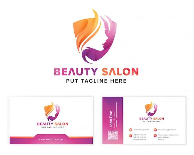 Salone di bellezza colorato logo femminile Vettore Premium